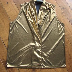 Gorgeous Jeremy Scott Gold Disco Petite Top Blouse